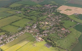 The village of East Hanney from the air.