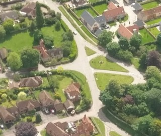 The Green in West Hanney from the air.