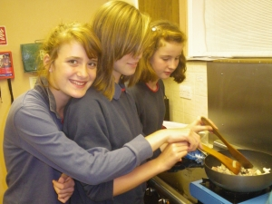 Hanney Guides enjoying some cookery.