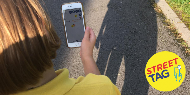 Using the Street Tag app walking home from school.